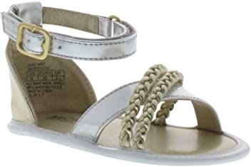 Michael Kors Mimi Gold Silver Faux Leather Baby Sandals Size 3