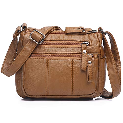 Volcanic Rock Women Crossbody Bag Pocketbooks Soft PU Leather Purses and Handbags Multi Pocket Shoulder Bag (Brown-8.5