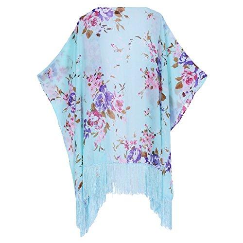 Women's Floral Kimono Cover Up - Lightweight Leopard Chiffon Beachwear for Bikini,Cardigan and Swimwear (One Size, Light Green)