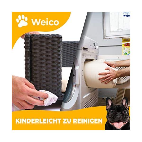 51T JNujKWL Cherioll weico Hundebett in Rattan-Optik 90 x 60 x 30 cm - gemütliches Hundebett mit waschbarem Kissen - stabiles…
