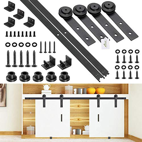 Yescom 4 Ft Mini Double Cabinet Sliding Barn Wood Door Hardware Roller Track Rail Kit TV Stand Wardrobe Closet Kitchen