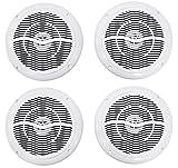 (4) Rockville RMC65W 6.5'' 1200 Watt Waterproof Marine Boat Speakers 2-Way White