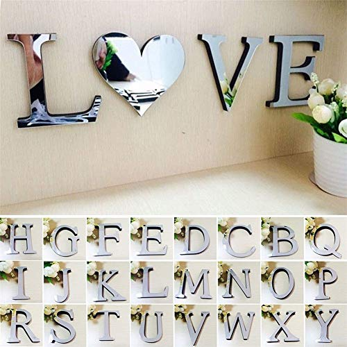 - Yiyatoo 3D Mirror Wall Sticker 26 Letters DIY Art Mural Home Room Decor Acrylic Decals (C)