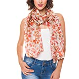 Scarf for Women 100% Silk Summer Fall Wedding Party Event by Melifluos Fashion Large Lightweight Beige Brown Orange Floral Flower Scarves Scarfs (NS21-15)