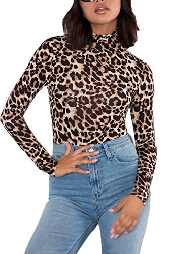 Symptor Bodysuits for Women Leopard Print Turtleneck Sexy Slim Fit Romper Outfits L