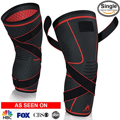 Athledict Knee Brace Compression Sleeve with Strap for Best Support