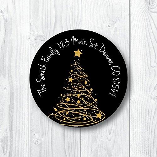 Address Labels Gold Christmas Tree ()