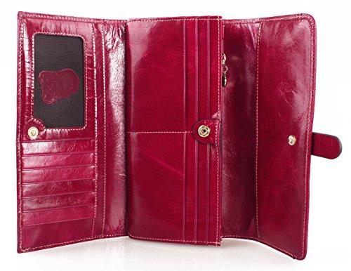 Tibes donne vera pelle portafoglio lusso borsa Rosa caldo