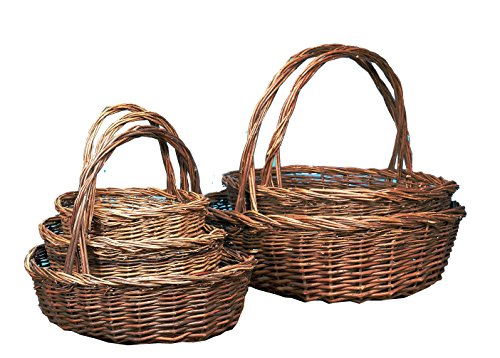 Napco Oval Unpeeled Willow Baskets, Set of 5