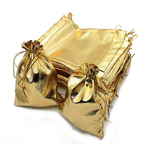 Wuligirl 100pcs Drawstring Pouches Bags 5 x 7 Inch Jewelry Watches Earrings Bracelets Lipstick Baby Shower Party Wedding Favor Cookies Candy Christmas Gift Bags(Gold 5x7)