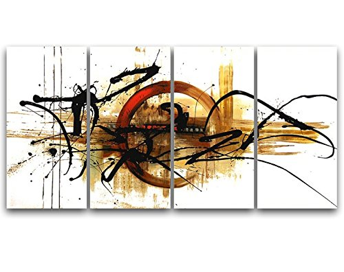 Wieco Art The Fifth Planet Abstract Oil Paintings on Canvas Wall Art Ready to Hang for Living Room Bedroom Kitchen Home Decorations 4 Panels Modern 100% Hand Painted Stretched and Framed Artwork