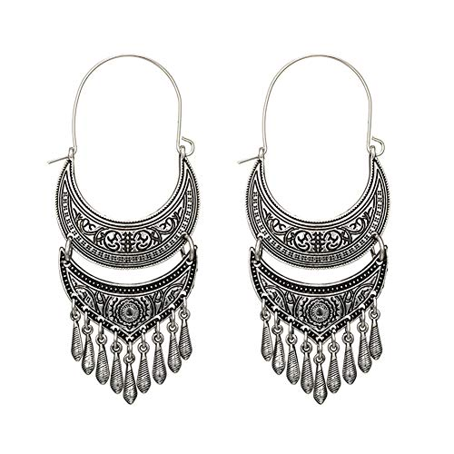 Tribal Long Tassel Hoop Earrings for Women - Gypsy Antique Chandelier Dangle Earrings (Silver 2) Antique Style Silver Earrings