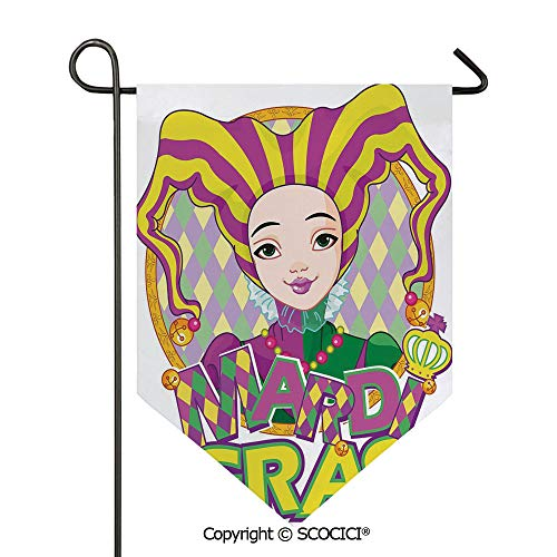 SCOCICI Easy Clean Durable Charming 12x18.5in Garden Flag Carnival Girl in Harlequin Costume and Hat Cartoon Fat Tuesday Theme,Yellow Purple Green Double Sided Printed,Flag Pole NOT Included