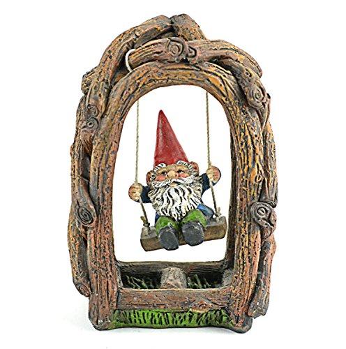 Mini Garden Resin Gnome on Swing, 5 x 3.25 inch - Resin Gnome