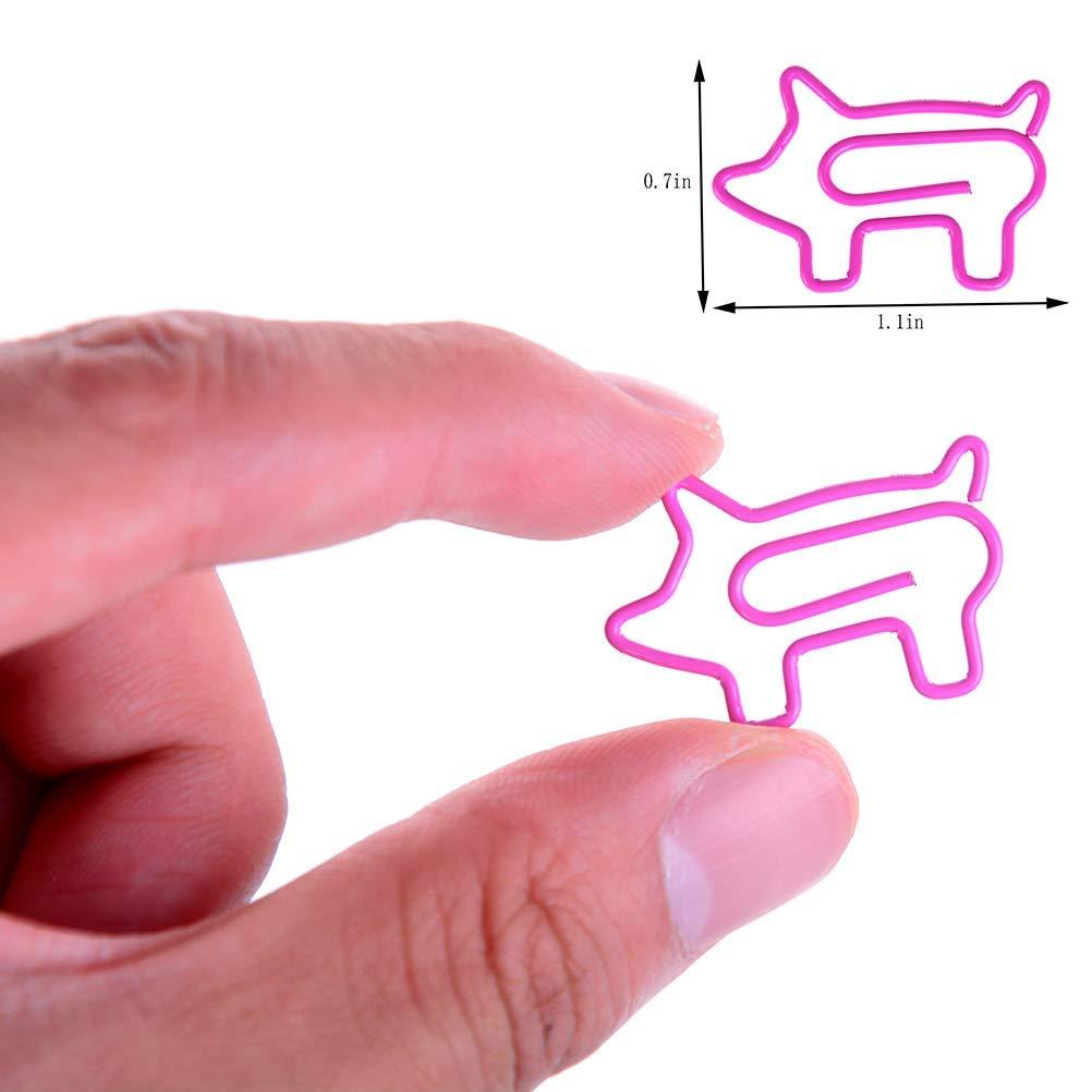 30 pezzi Luckyrainbow a forma di maialino colore: rosa Fermagli per segnalibri