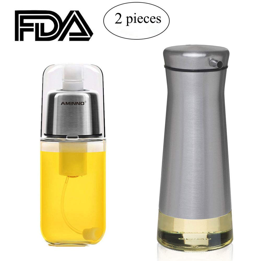 Sonyabecca Olive Oil Dispenser Oil Mister Set Drip Free Design Cooking Sprayer with Clog-Free Filter Glass Bottle Stainless Steel