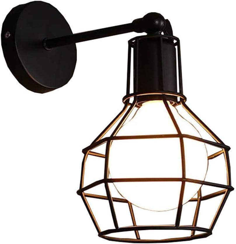 Applique da parete interna Edison Lampada Vintage Industriale Gabbia Lampada da Parete Illuminazione a Soffitto per Cucina Soggiorno,Bar,Ristorante Soffitta Metallo Nero