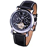 KS Men Genuine Leather Tourbillion Mechanical Classic Black Military Wrist Watch KS003, Watch Central