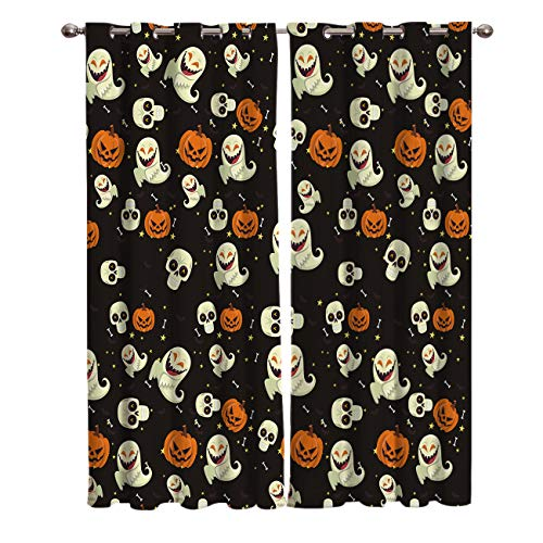 BABE MAPS 2 Panel Set Blackout Curtains Halloween Pumpkin and Ghost Pattern Darkening Window Curtain Thermal Insulated Grommet Drape Panels for Living Room and Bedroom 52