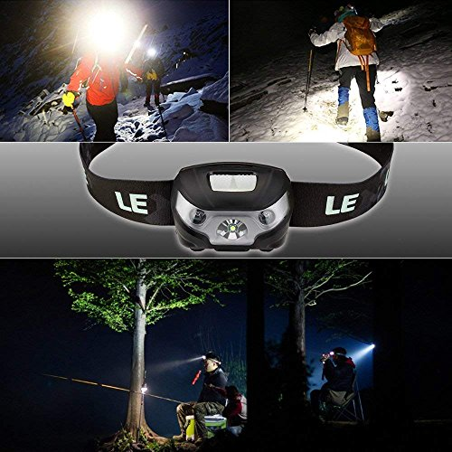 LE Rechargeable LED Headlamp, 5 Lighting Modes, Lightweight Headlight for Outdoor, Camping, Running, Hiking, Reading and more, USB Cable Included, Pack of 3 by Lighting EVER (Image #6)