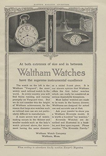 1913 Ad Waltham Watch Vanguard Railroad Pocket Model Shown- Original Vintage - Vanguard Model
