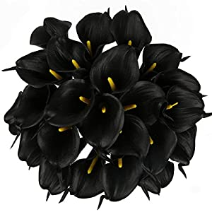 Luyue Calla Lily Bridal Wedding Bouquet Head Lataex Real Touch Flower Bouquets Pack of 20 (Black) 60