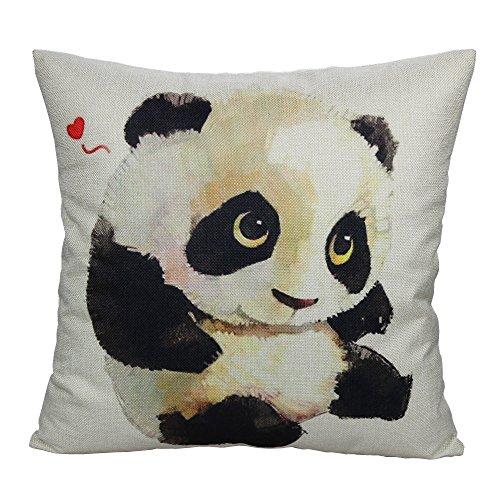 All Smiles Love Heart Panda Throw Pillow Case Cushion Cover 18 x 18 Cotton Linen for Patio Couch Sofa