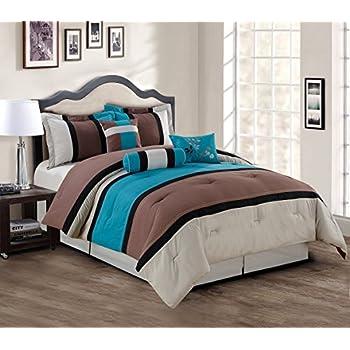 Amazon Com Grand Linen 7 Piece Teal Blue Grey Black