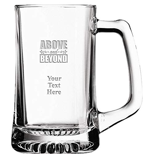 Above & Beyond Custom Beer Glass, 16 oz Personalized Employee Recognition Beer Mug Gift With Your Own Engraving Text Prime