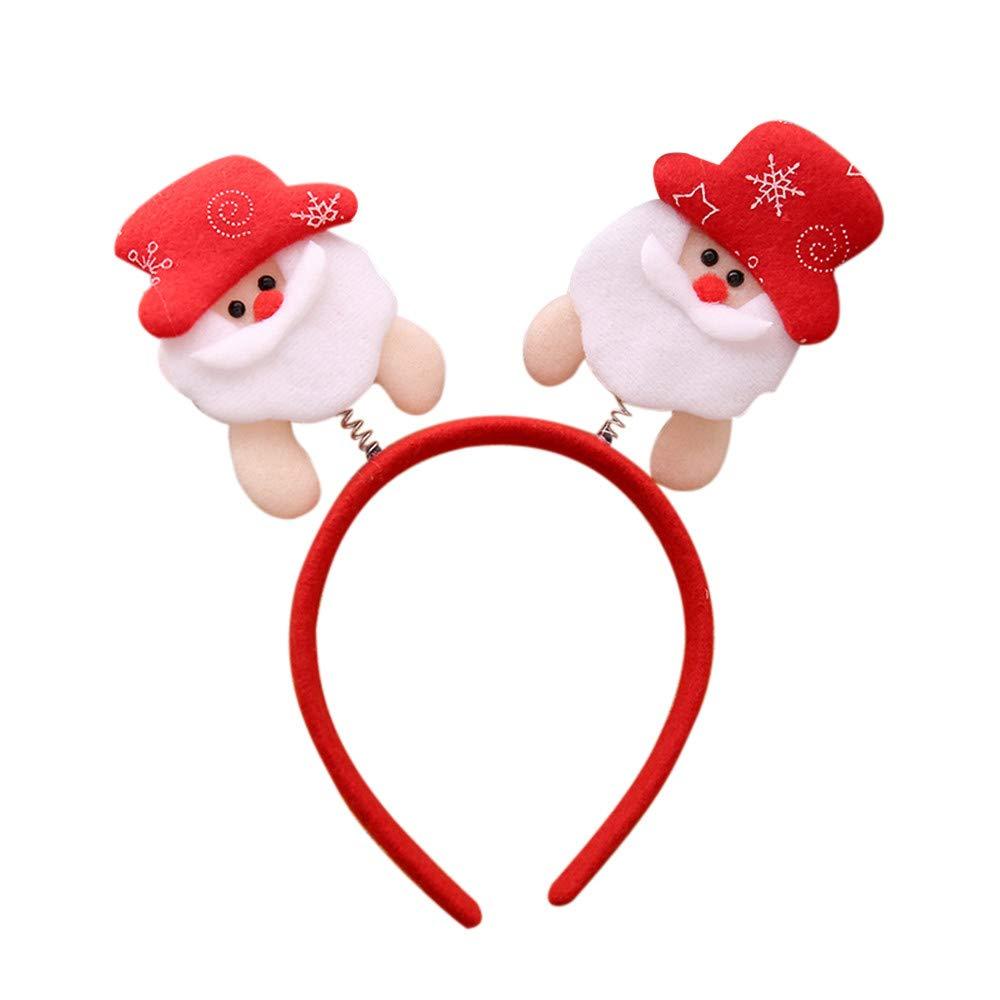 Kingspinner Christmas Headband Santa Claus Reindeer Double Hair Band Clasp Head Hoop for Party (B)