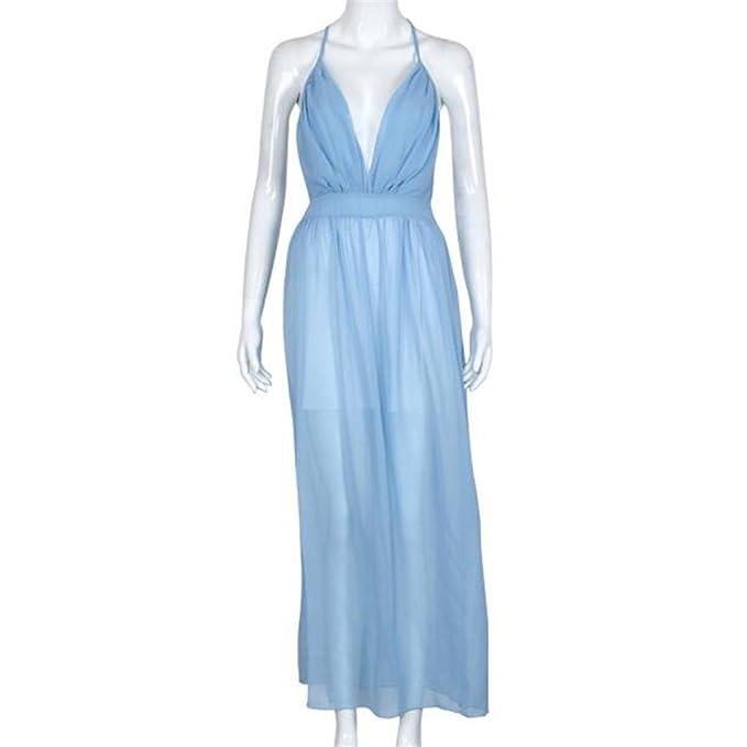 Amazon.com: Women Dress,Haoricu Hot Sale!2017 Sexy V-Neck Women Summer Chiffon Sleeveless Boho Chiffon Evening Party Beach Long Dressss White (S, ...