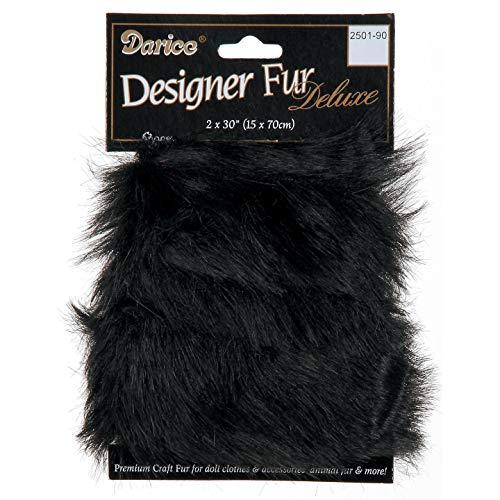 Bulk Buy: Darice DIY Crafts Luxury Fur Trim Black 2 x 30 inches (3-Pack) 2501-90
