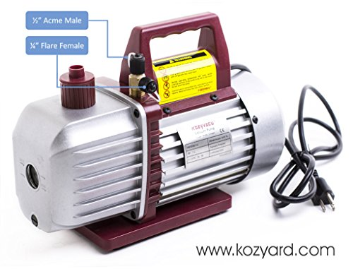 Kozyvacu, Two-Stage Rotary Vane Economy Vacuum Pump (5.0CFM, 0.3Pa, 1/2HP) Air Conditioner Refrigerant Recovery, HVAC/AUTO AC tool R134a R410a, Wine Degassing, Vacuum Pump for Milking