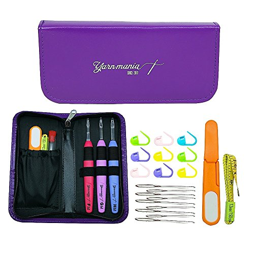 Yarn Mania - Light Up Crochet Hook (3pcs) | Lighted Crochet Hooks Complete Set (Size 4, 5 & 6mm) With Crochet Case and 21 Pieces Of Crochet Accessories (Purple)