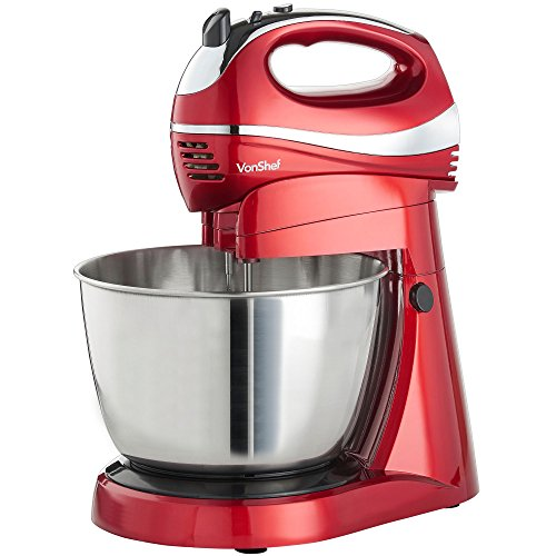 VonShef 2 in 1 Twin Hand and Stand Mixer, Red, 300W with 5 Speeds & Turbo...
