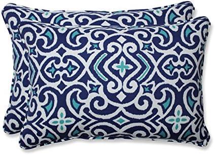 Pillow Perfect Outdoor Indoor New Damask Marine Oversized Lumbar Pillows, 24.5 x 16.5 , Blue, 2 Pack