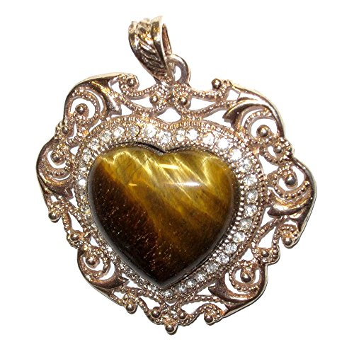 Goddess Tigers Eye Necklace - Tigers Eye Pendant 50 Goddess Crystal Heart Pendant Golden Lovers Stone Fancy Frame 2.3