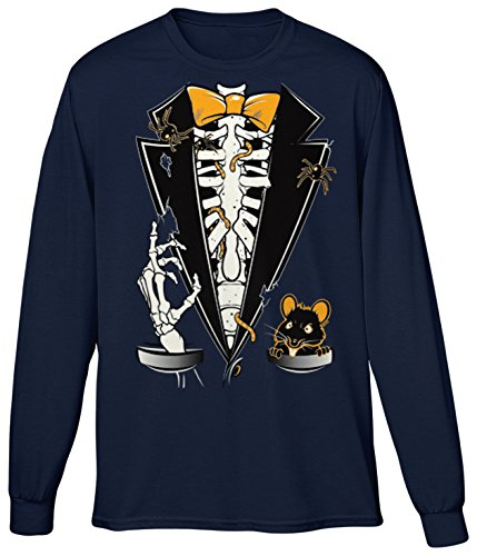 Blittzen Mens LS Halloween Skeleton Ribcage Rat Tuxedo, 2XL, Navy -