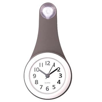 Reloj de Baño, Foxom Cuarto de Baño Impermeable Reloj de Pared Resistentes Timer Succión Taza, Gris: Amazon.es: Hogar