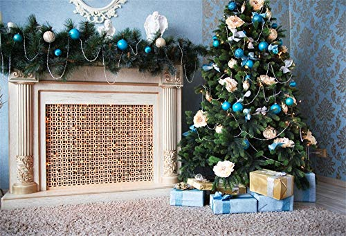 AOFOTO 10X7ft Christmas Fireplace Backdrop for Photographer Decorated Xmas Trees Gifts String Lamps Baubles Carpet Background Family Events Party Decoration Kids Baby Adults Portraits Photo Booth Prop
