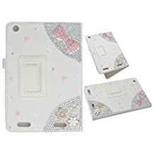 KAKA(TM) 3D Handmade Rhinestone Crystal PU Leather Stand Folding Protective Tablet Case Cover For Acer Iconia A1-830 7.9inch White