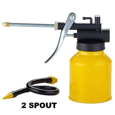 Junchi High Pressure Pistol Pump Oil Can with Metal & Long Flex Spout 250ml: Automotive