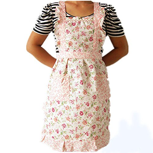 Tuscom Simple Pink Printing Floral Fashion Pocket Apron Dress|for Women Lady Restaurant Kitchen Christmas Holiday Party Apron Decoration| Hem 70cm Length 76cm Waist Width 52cm (Pink) ()
