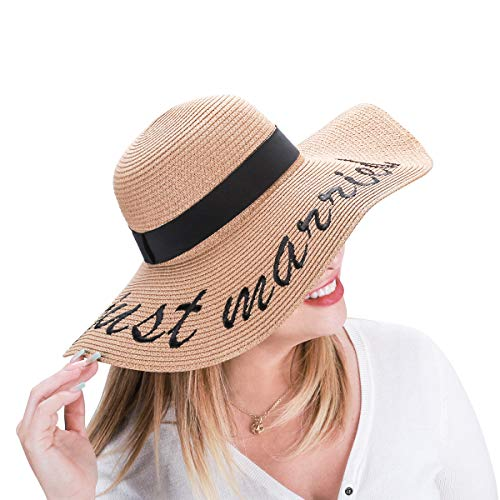 Jane Shine Sun Hat just Married Embroidery for Bride Honeymoon Beach Travel
