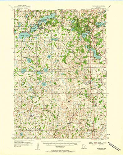 YellowMaps Prior Lake MN topo map, 1:62500 Scale, 15 X 15 Minute, Historical, 1957, Updated 1958, 27.23 x 21.53 in - Polypropylene