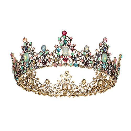 SWEETV Baroque Headpieces Round Queen Crown Jeweled Tiara Party Hats Hair Decorations with (Gemstone Crown)
