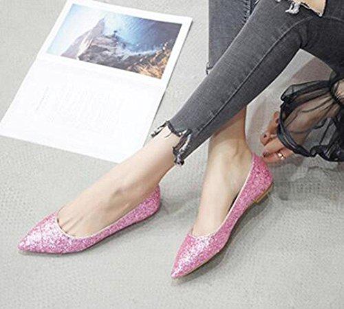 KUKI Mode Spitze einzelne Schuhe flachem Mund Pailletten Komfort flache Schuhe 1