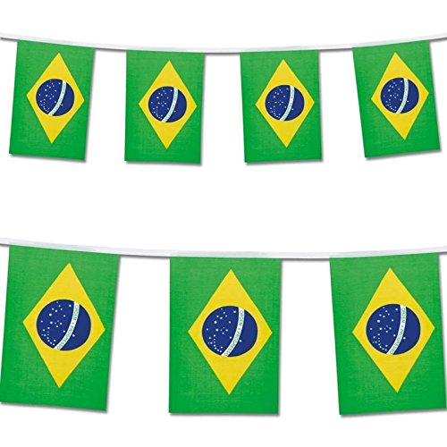 25 Brazil Flag Rio Olympics Brazilian Banner String Flags 22ft