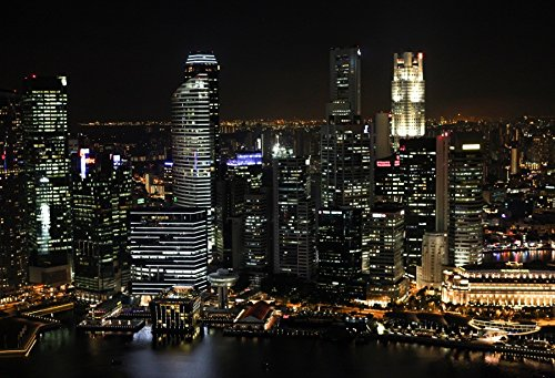 Leyiyi 9x6ft Photography Background Modern Urban Night View Singapore Skyscraper City Light Asia Travel Pacific Ocean Summer Holiday Blog Broadcast Photo Portrait Vinyl Studio Video Prop