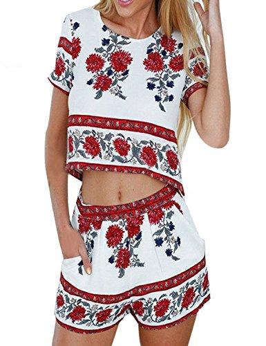 Womens 2 Pcs Floral Print Short Sleeve Bohemian Crop Tops and Shorts (Crop Set)